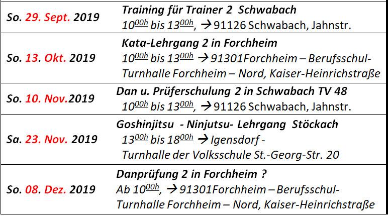 Goshin-Jitsu Verband Bayern e.V. - Termine 2019
